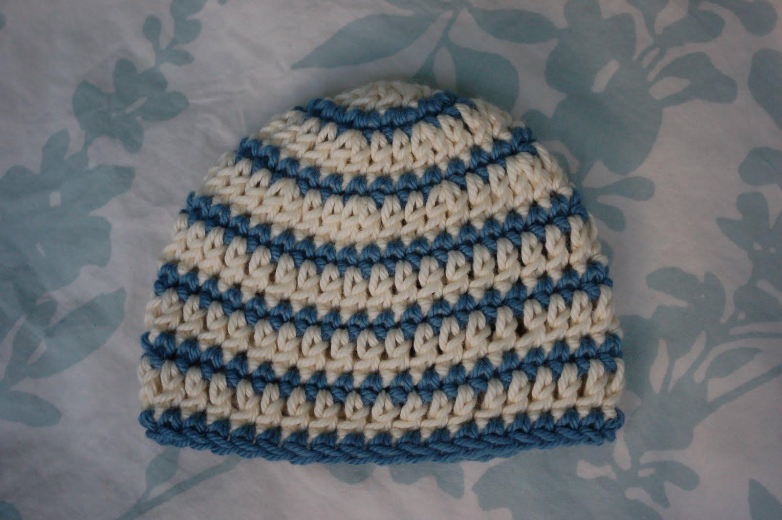 Newborn Single Crochet Hat Pattern : Alli Crafts: Free Pattern: Thick and Thin Striped Beanie ...