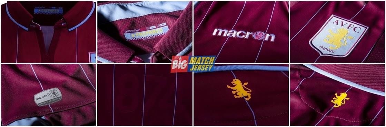 Detail Jersey Bola GO Aston Villa Home Official 2014-2015