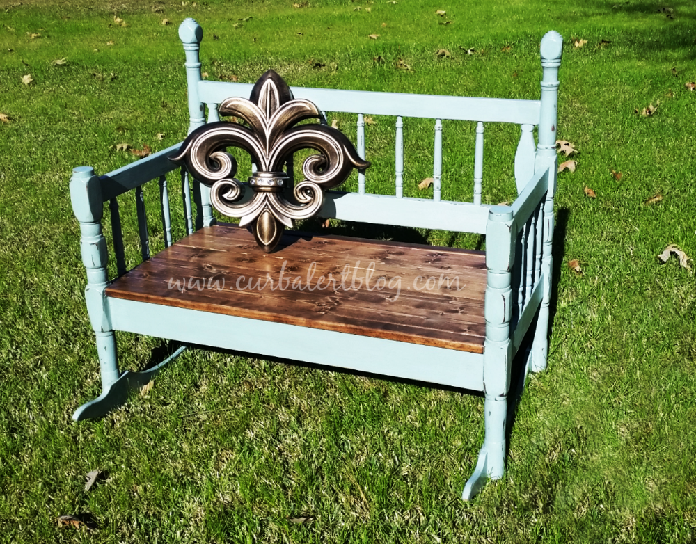 Repurposed Headboard Bench Annie Sloan Duck Egg Blue