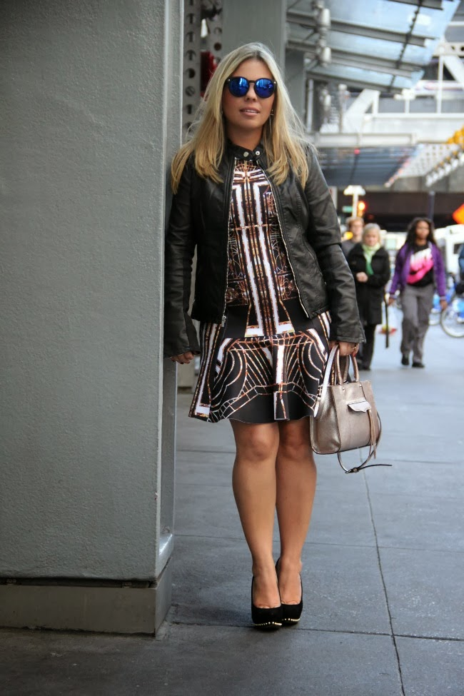 Clover Canyon Print Dress and Leather Moto Jacket from Express