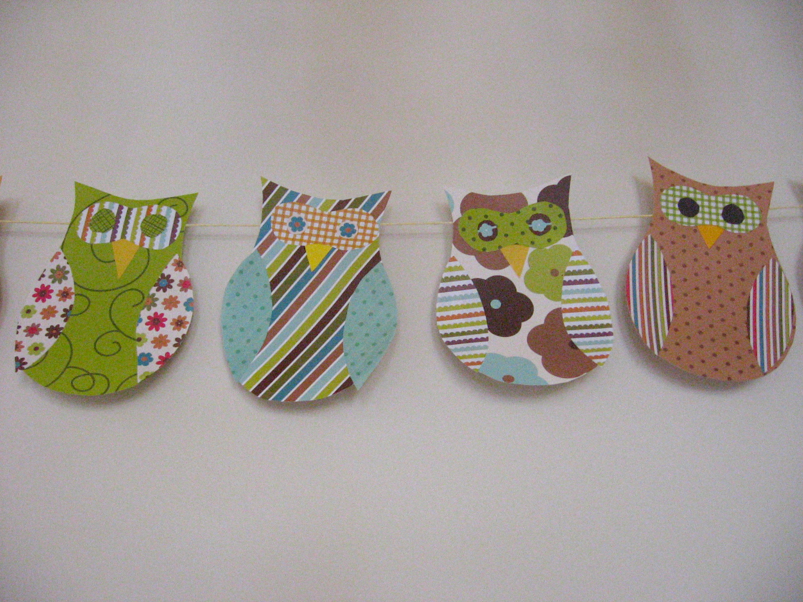 owl themed baby shower decorations with scrapbook paper owl garland