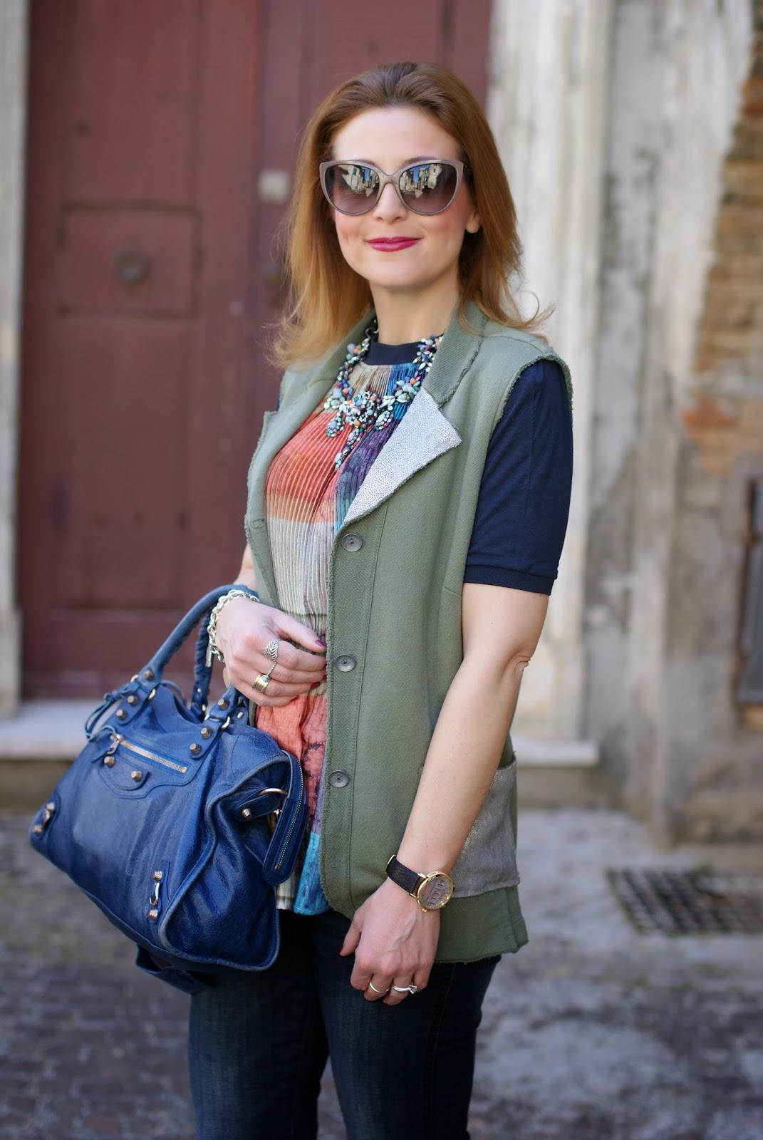 Praio, Praio sleeveless jacket, Millelire orologio, Balenciaga City, Fashion and Cookies, fashion blogger