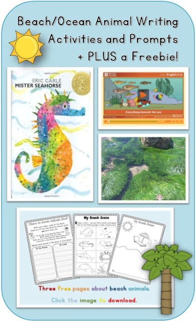 Photo of Beach/Ocean Animal Writing Activities and Prompts plus a free download