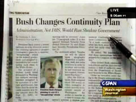 "Washington Post, May 10, 2007, ""Bush Changes Continuity Plan: Administration, Not DHS, Would Run Shadow Government"" by Spencer S. Hsu."