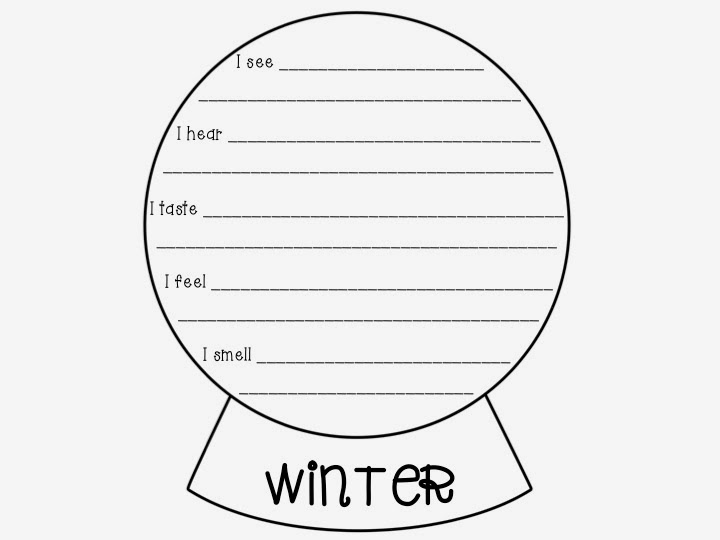Freebie: 5 Senses Poem Snow Globe Template | Literacy Spark