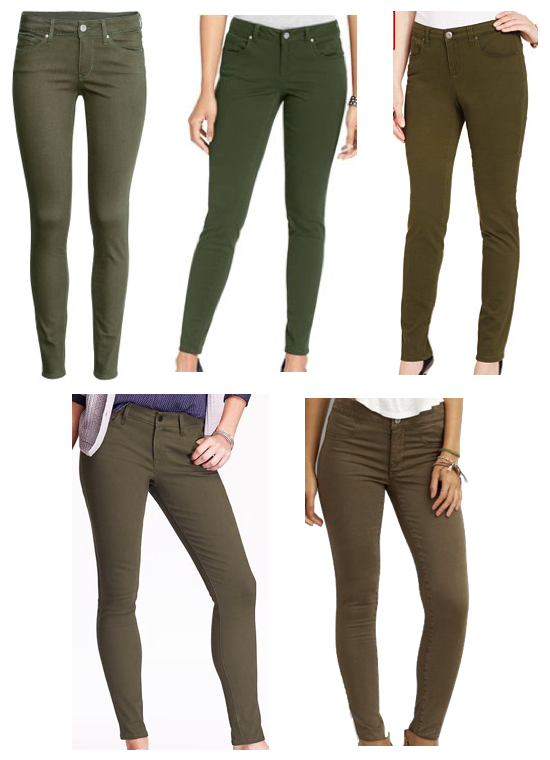 If you don't own any and are looking, here are a few options from Macy's,  Old Navy, H&M, and American Eagle, and almost all of them are pretty darn  cheap ... - Putting Me Together: How To Wear Olive Skinny Jeans - 15 Ways