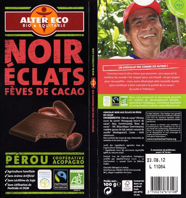 tablette de chocolat noir gourmand alter eco pérou noir eclats fèves de cacao