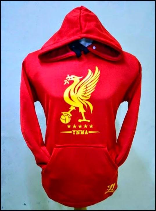 Jumper Hoodie Bola Polos (Satu Warna) - Liverpool Merah