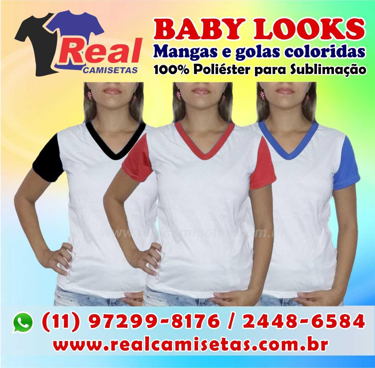 BABY LOOK MANGAS COLORIDAS