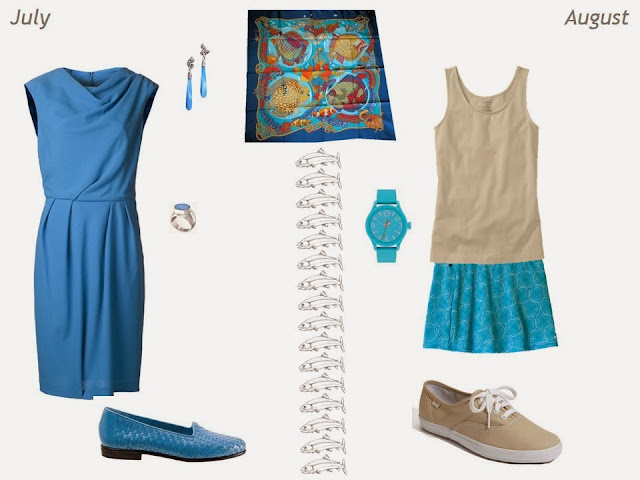 Hermes Grands Fonds silk scarf inspires outfits for July and August
