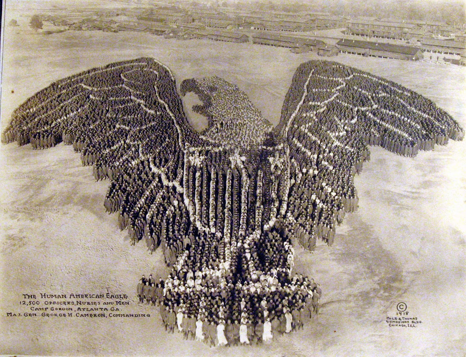 The Human American Eagle, 1918, Camp Gordan, Atlanta Ga. 12,500 officers, nurses and men.