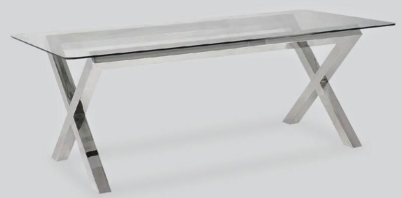 mesa de acero y cristal para comedor