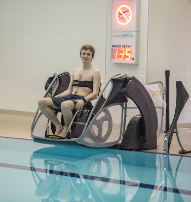 Poolpod with wheelchair and chest strap