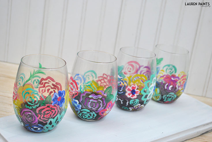 Painted wine glasses painted wine glasses strands set of 4 for Diy painted wine glasses