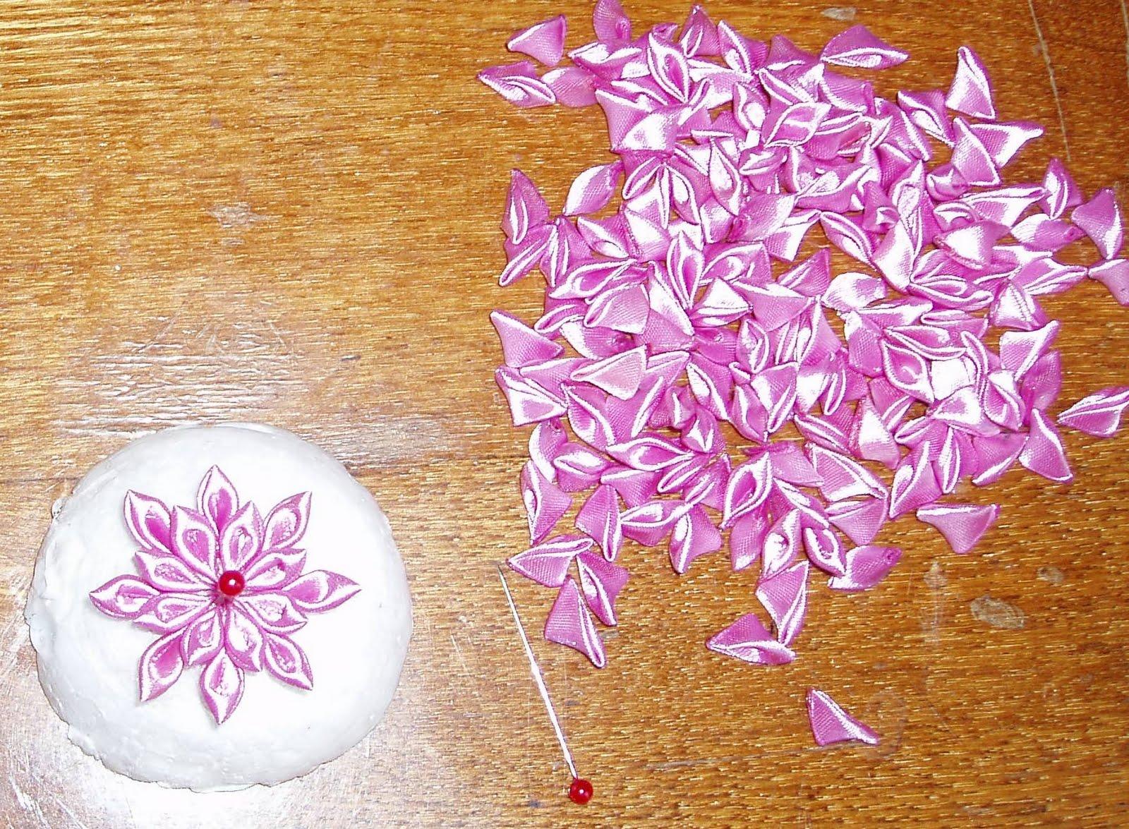 Как сделать канзаши хризантему