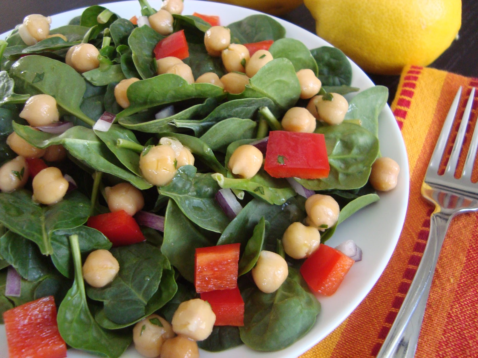 to hold it in place serve and enjoy lemony chickpea and spinach salad ...
