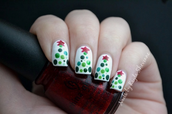 Nails By Kayla Shevonne Christmas Nail Art Dotted Christmas Trees