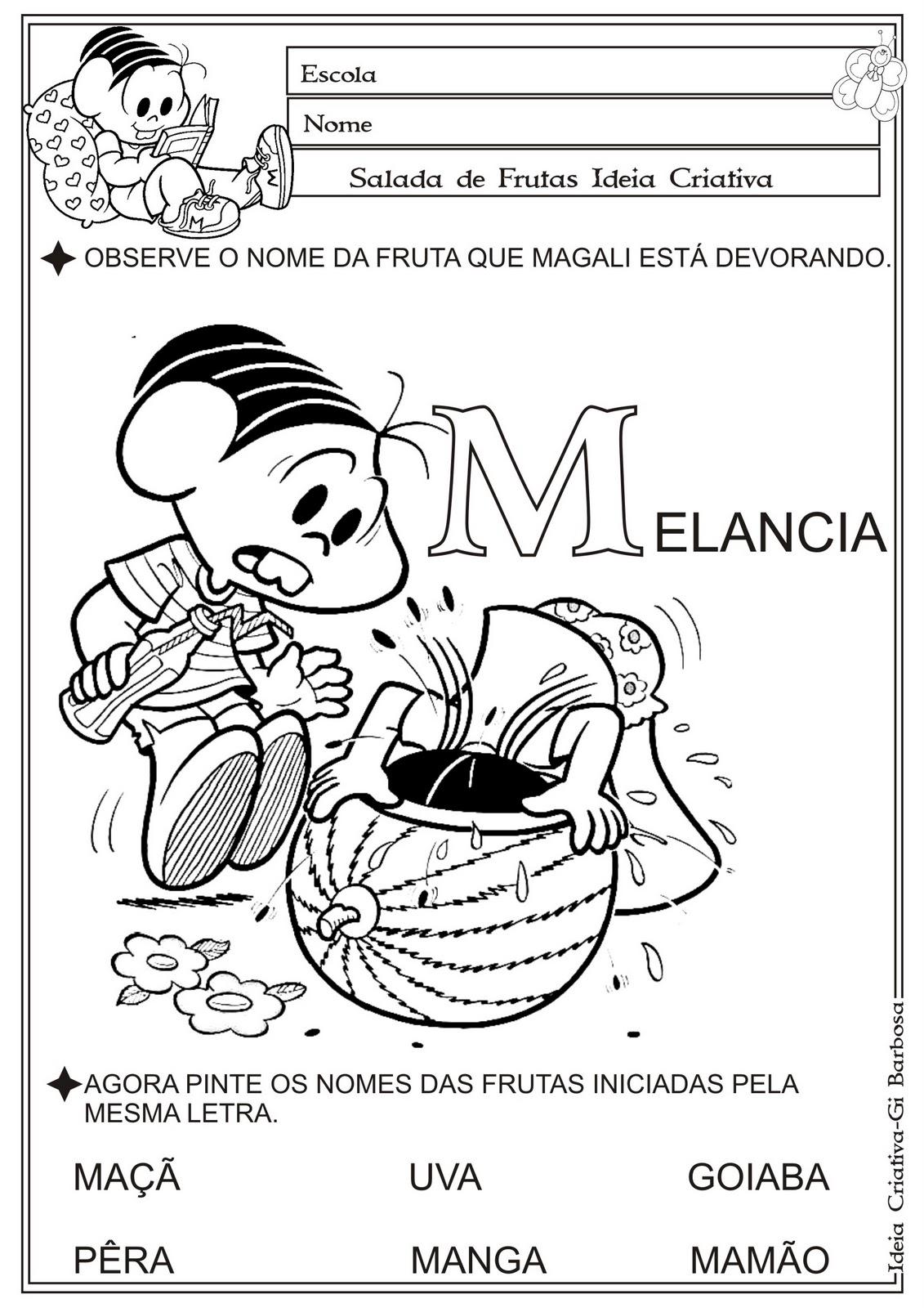 Excepcional Atividade Temática Alimentação Saudável Letra M | Ideia Criativa  YU97