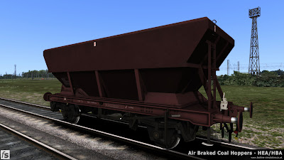 Fastline Simulation - HBA/HEA Coal Hoppers: An HEA hopper with offset ladder in plain maroon livery with an oil tail lamp.