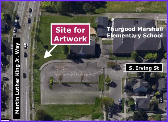 Aerial view of artwork site
