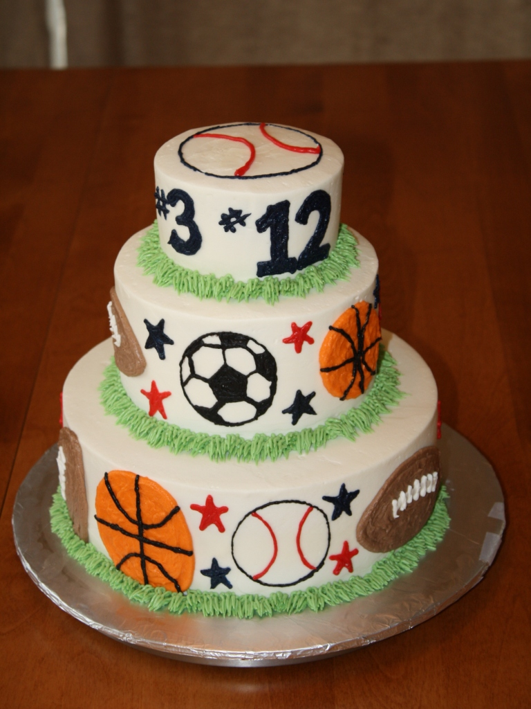 Party cakes 3 tier sports birthday cake