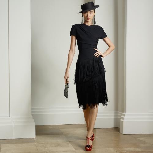 püsküllü abiye, gece elbisesi, siyah abiye, kısa abiye, siyah elbise