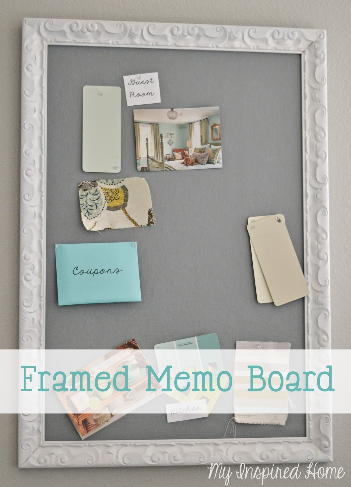 my inspired home diy framed memo board in an effort to get more organized and to clear out some closet space i wanted to use this frame to make a memo board for my office a ridiculous work in