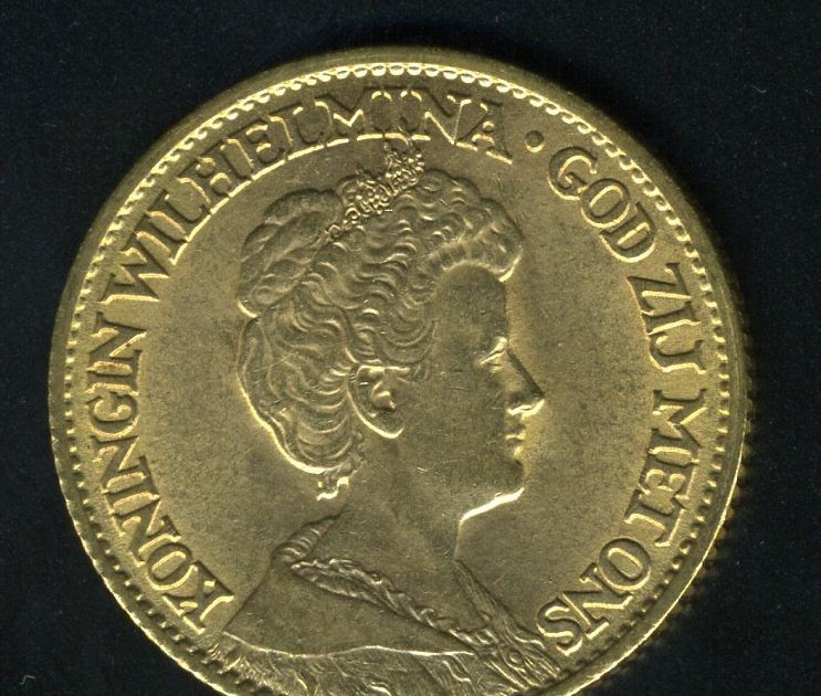 Netherlands 10 Gulden Gold Coin Minted In 1913 World