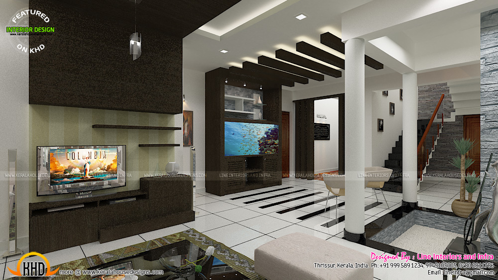Contemporary dining living and courtyard interior design for House interior design kerala photos