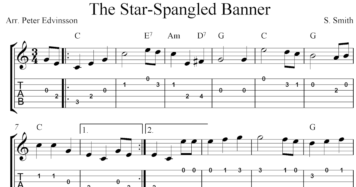 The Star Spangled Banner Free Guitar Tablature Sheet Music Notes