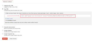 Kode Verifikasi Google webmaster tools blog
