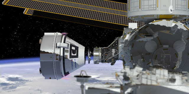 This artist's concept shows Boeing's CST-100 Starliner spacecraft, currently under development for NASA's Commercial Crew Program, docking to the International Space Station. Credits: NASA