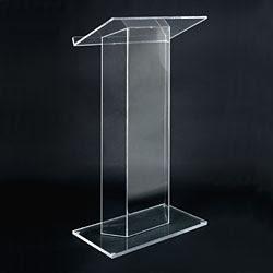podium acrylic ukuran meja dan alas 40 x 50 cm tinggi 110 cm tebal bahan 10 mm