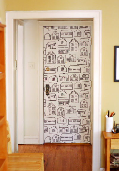 I Couldnt Stand Our Boring White Door Anymore Something Had To Be Done So Over The Weekend We Wallpapered It With A Big Fun Piece Of Fabric I Love It