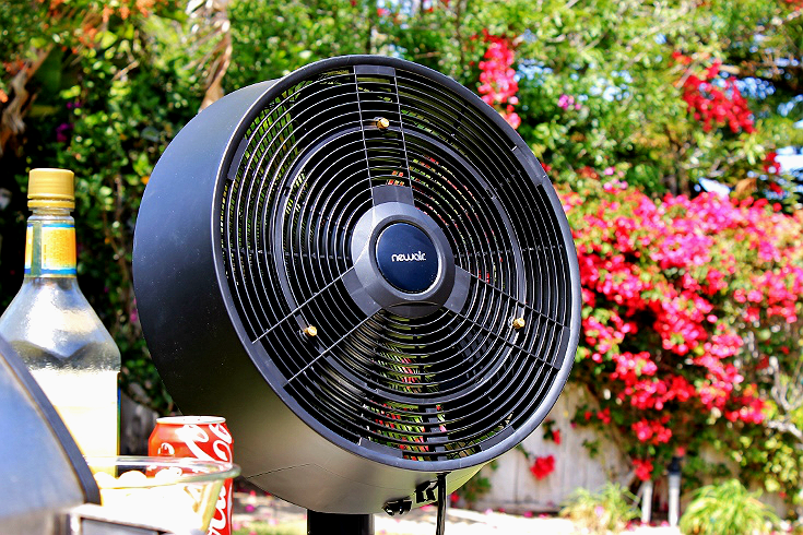The NewAir AF-520B 18 Inch Misting Fan provides ultra quite cooling with 3 adjustable feeds. Us it with or without a mist to cool an outdoor space up to 500 square feet. #sponsored