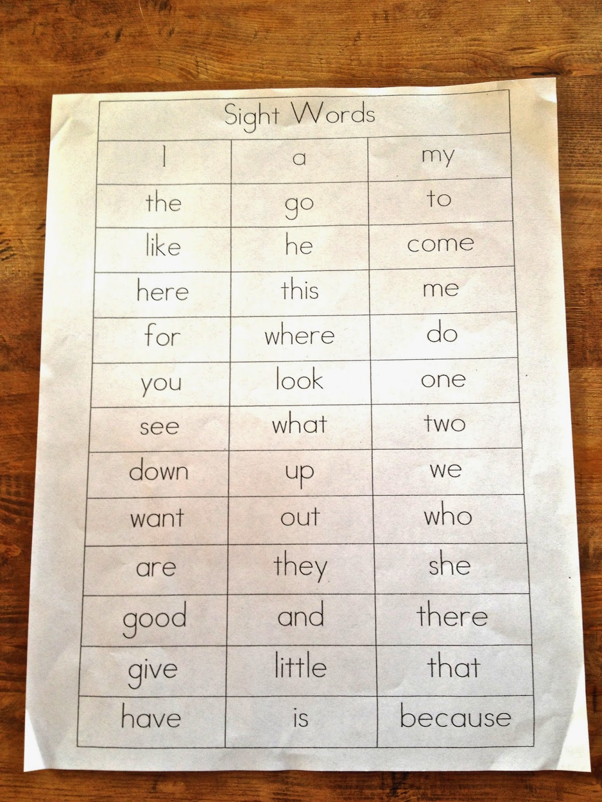 teaching sight words to kids pre-schoolers list of
