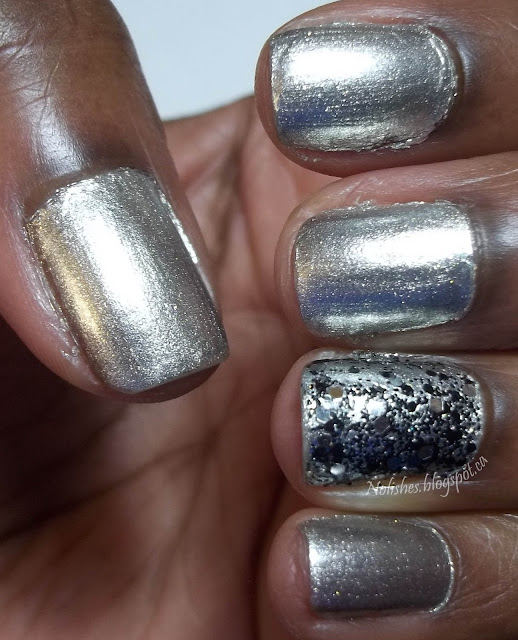 Basic manicure featuring OPI's 'Centennial Celebration', and an accent nail (ring finger) with black and silver glitter.