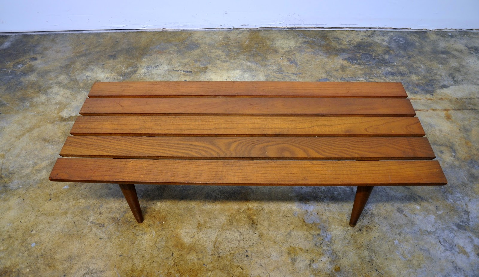Select modern mid century modern slat bench or low coffee table 1950s 1960s geotapseo Gallery