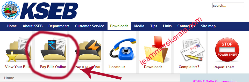 KSEB, Kerala State Electricity Board online bill payment homepage