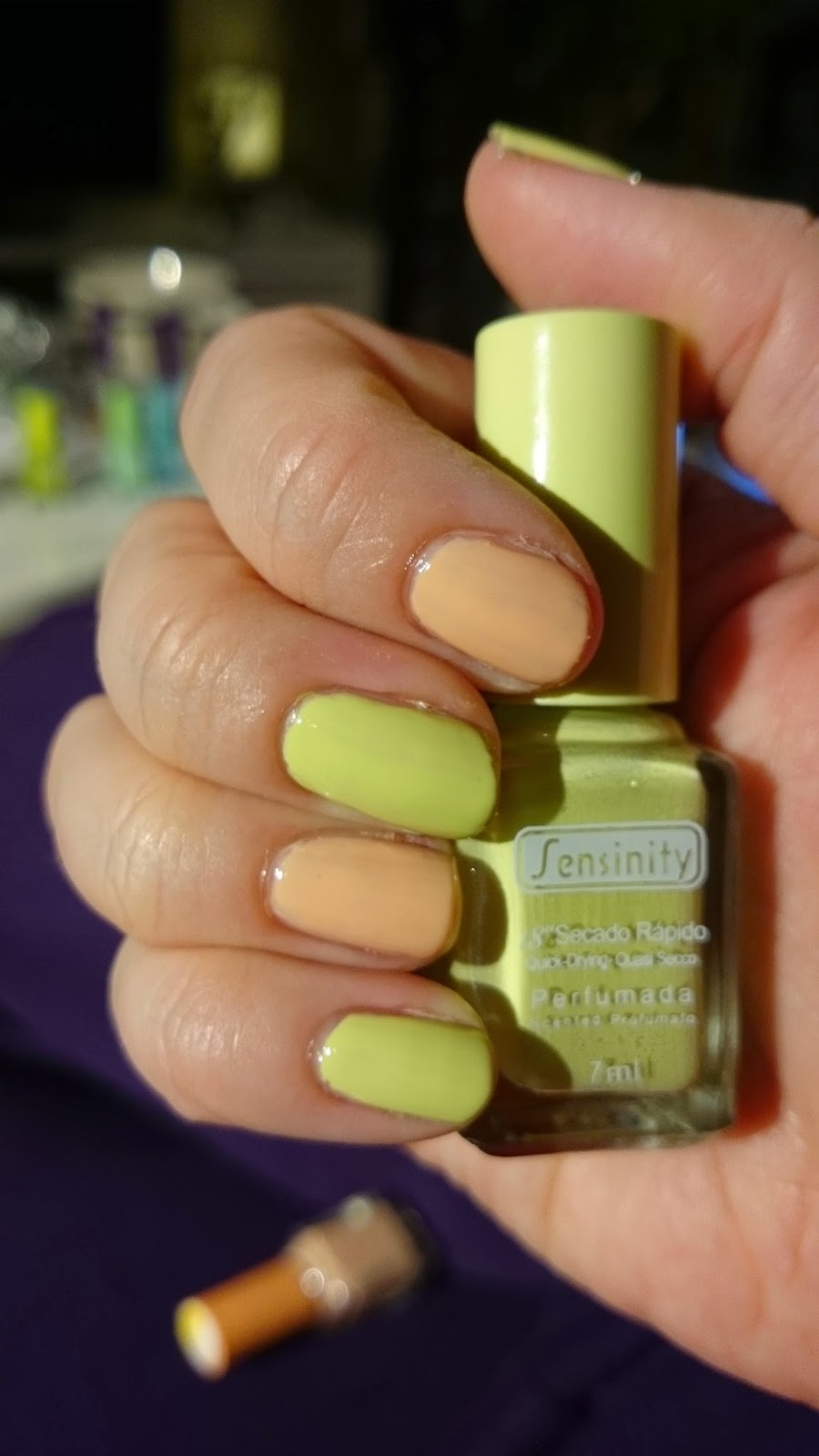 sensinity, nagellack, nail polish, green, grönt, orange, nude