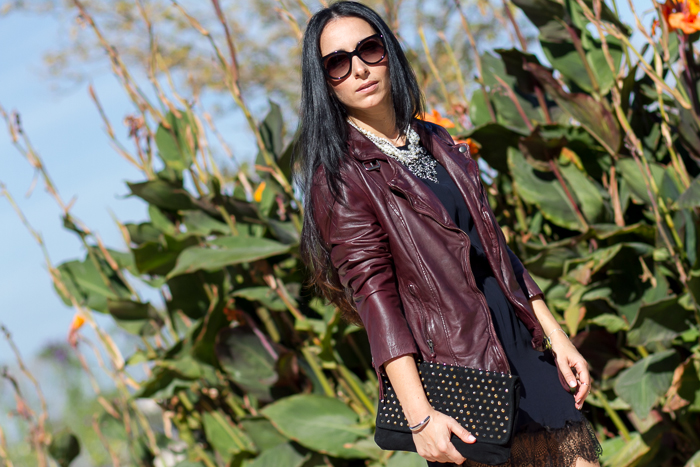 LINGERIE STYLE DRESS AND LEATHER BIKER JACKET BY MUUBAA