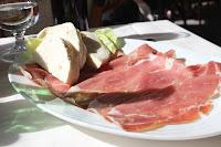 Prosciutto and mozzarella at Ristorante La Pergola, Positano, Italy