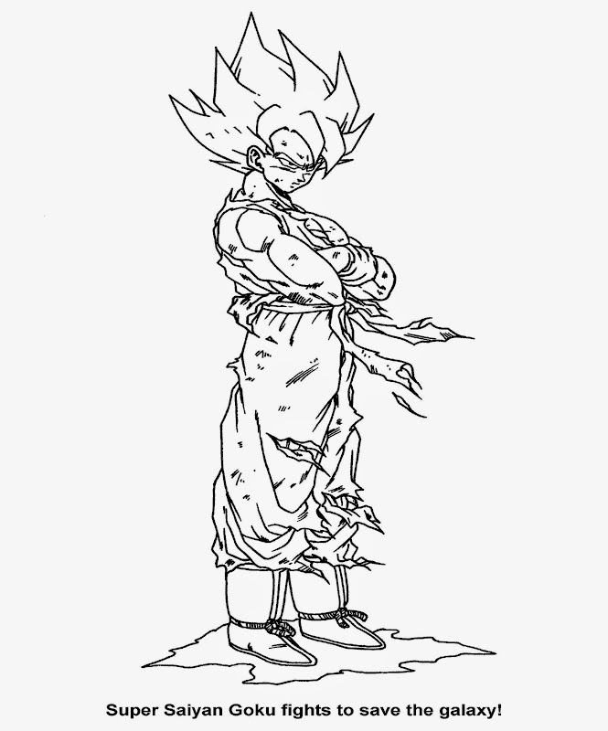 dragon ball z coloring book pages - Super Saiyan Goku Coloring Pages