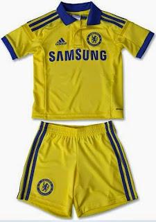 gambar baju bola anak chelsea away terbaru warna kuning musim 2014/2015