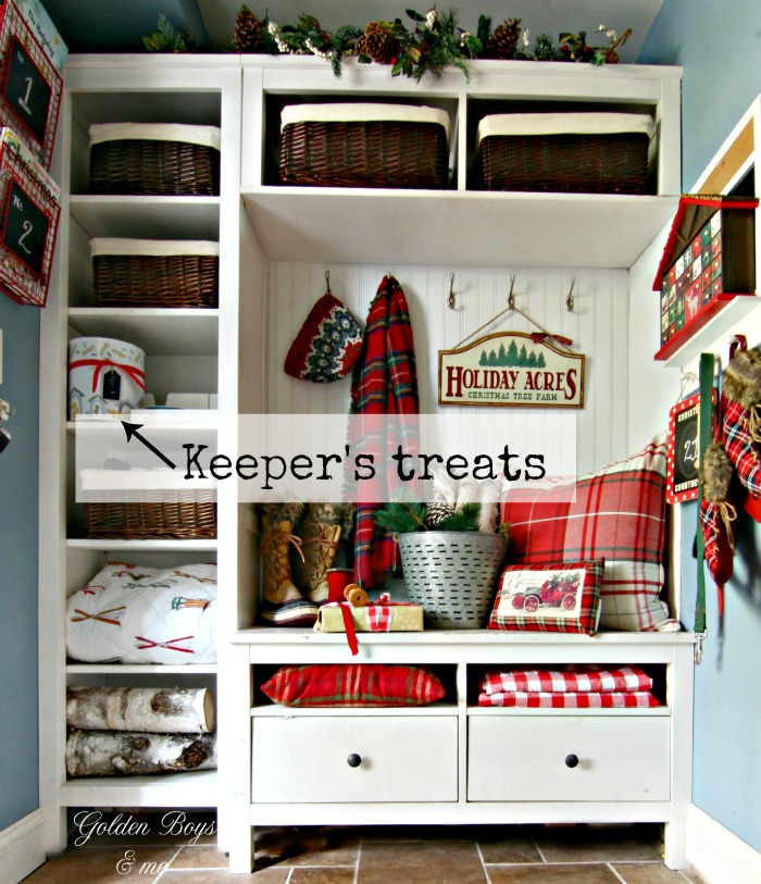 Christmas decor in mudroom with Plaid Pottery Barn pillows and scarf - www.goldenboysandme.com