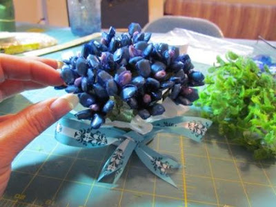 vintage blue floral bouquet made from seeds