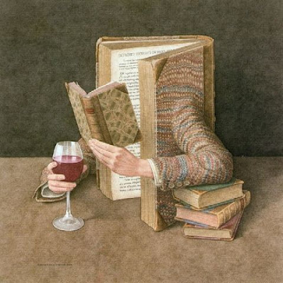painting of a book with a glass of wine while reading a book
