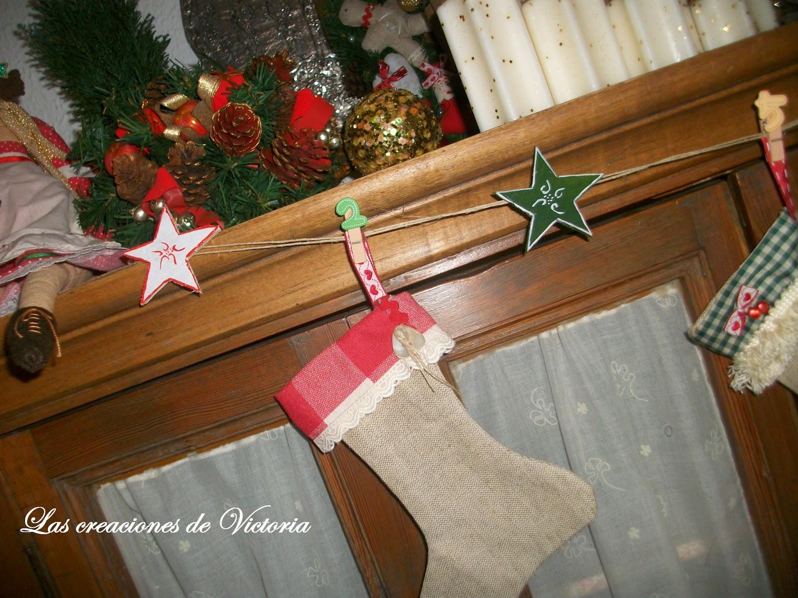 Las creaciones de Victoria. Patchwork.Guirnalda de calcetines navidad.Reciclaje.