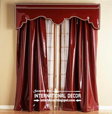 Red leather curtains and valance, bright curtains 2015, unique curtain ideas