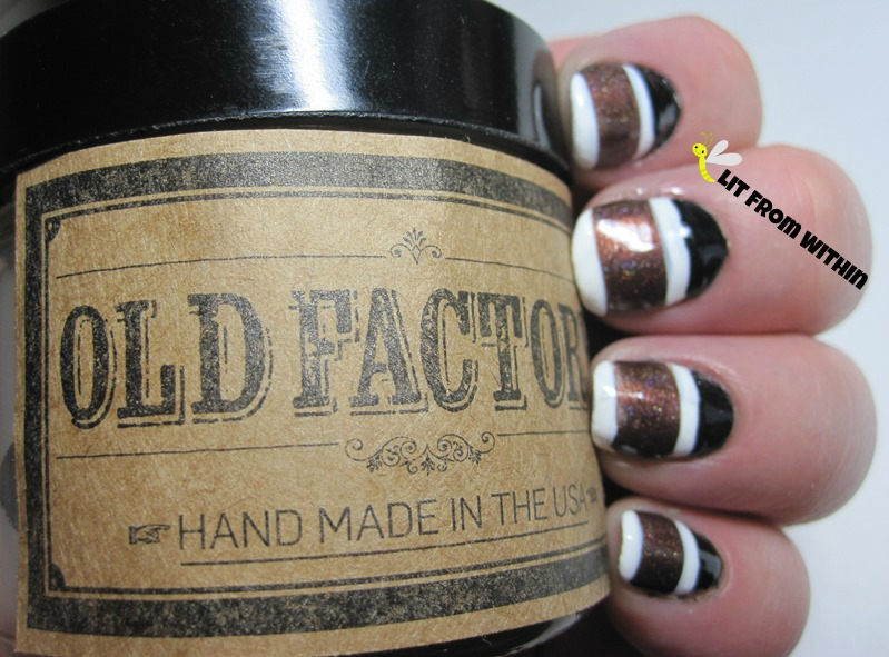 Old Factory nail art with Sally Hansen/Revlon white mix, Milani Black Swift, and Lacquerhead Polish Ashlyn